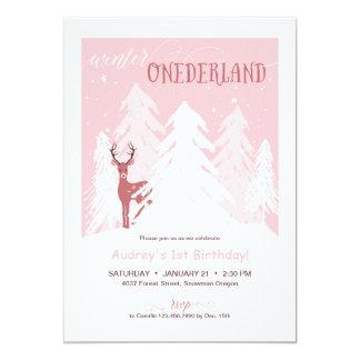 Cartão Festa de aniversário de Onederland do inverno a