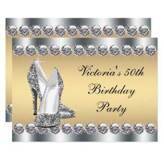 Cartão Festa de aniversário de prata de Bling do diamante
