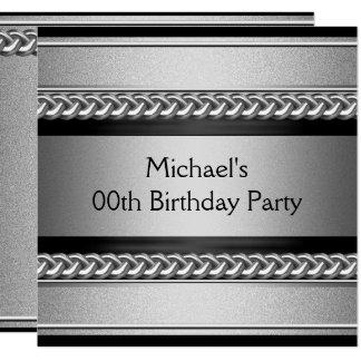 Cartão Festa de aniversário de prata preta elegante da