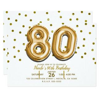 Cartão Festa de aniversário do 80 de 80 do ouro balões &