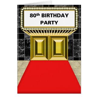 Cartão Festa de aniversário do 80 do tapete vermelho do