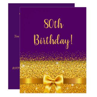 Cartão festa de aniversário do 80 na faísca roxa do arco