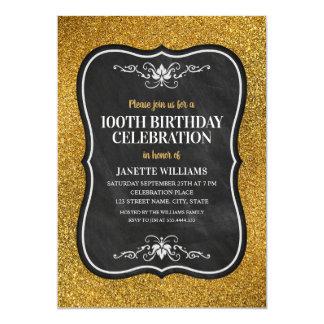 Cartão Festa de aniversário do adulto dourado