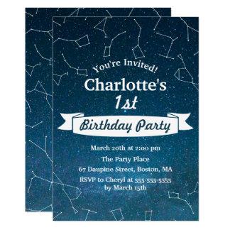 Cartão Festa de aniversário do astrónomo da constelação