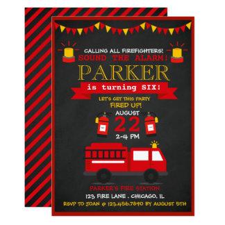 Cartão Festa de aniversário do bombeiro do quadro