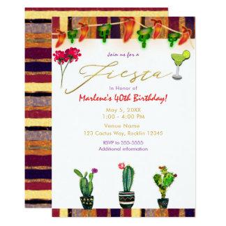 Cartão Festa de aniversário do cacto do sudoeste do ouro