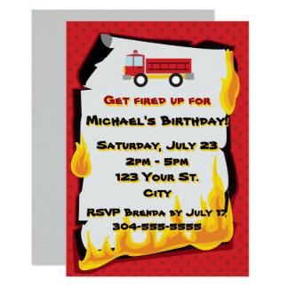 Cartão Festa de aniversário do departamento dos bombeiros