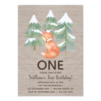Cartão Festa de aniversário do Fox primeiro da floresta