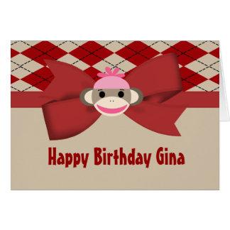 Cartão Festa de aniversário do guingão da menina do