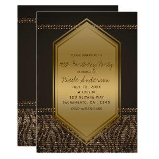 Cartão Festa de aniversário do impressão da zebra do ouro