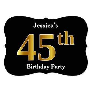 Cartão Festa de aniversário do olhar 45th do ouro do