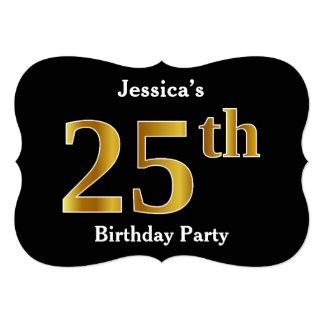 Cartão Festa de aniversário do olhar do ouro do falso 25a