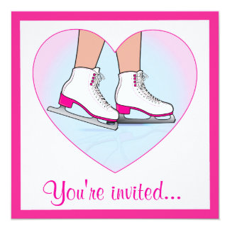 Cartão Festa de aniversário do patinagem no gelo com rosa