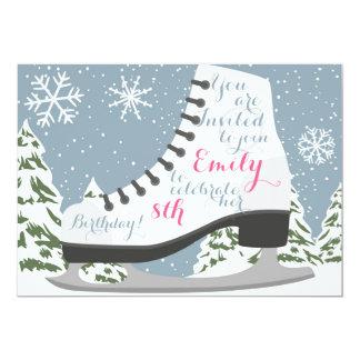Cartão Festa de aniversário do patinagem no gelo para