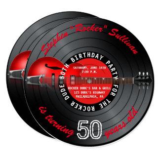 Cartão Festa de aniversário do registro 50th da guitarra