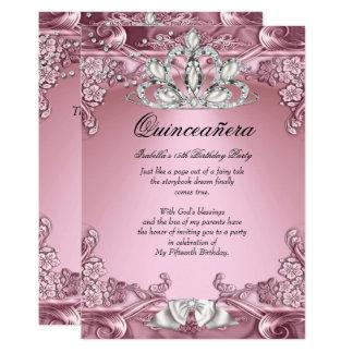 Cartão Festa de aniversário do rosa de Quinceanera 15a