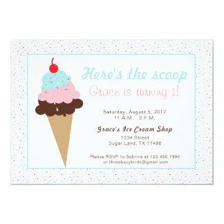 Cartão Festa de aniversário do sorvete