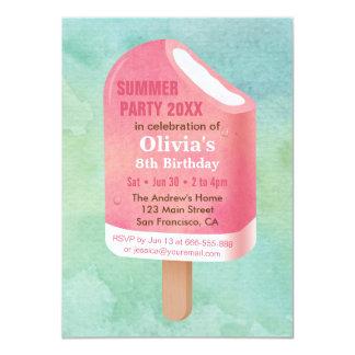 Cartão Festa de aniversário do sorvete do Popsicle do