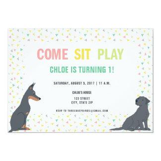 Cartão Festa de aniversário do tema do cão de filhote de