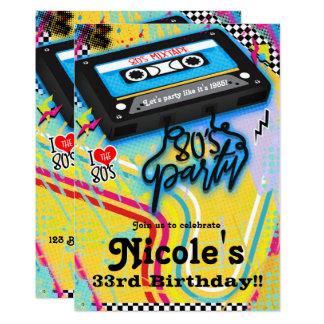 Cartão Festa de aniversário do tema dos anos 80 do anos