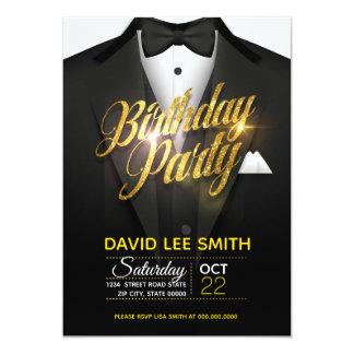Cartão Festa de aniversário do terno do brilho do ouro