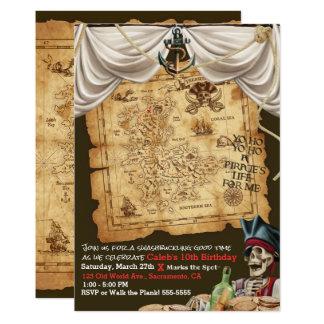 Cartão Festa de aniversário do tesouro do mapa do vintage