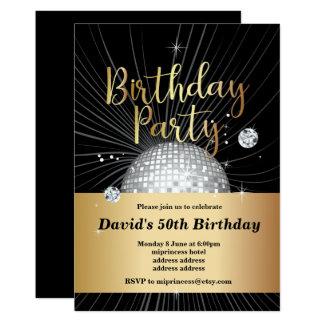 Cartão festa de aniversário dos anos 70, partido de disco