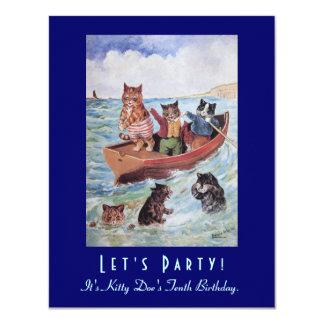 Cartão Festa de aniversário dos gatos da natação de Louis