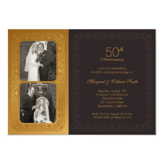 Cartão Festa de aniversário dourada do casamento das