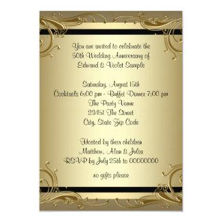 Cartão Festa de aniversário elegante do casamento do ouro