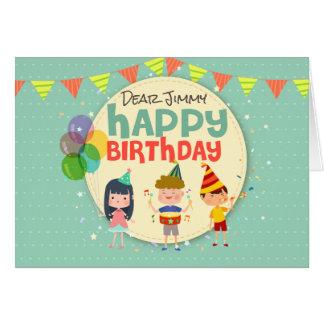 Cartão Festa de aniversário feliz da ilustração lunática