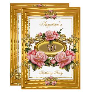 Cartão Festa de aniversário floral branca do ouro