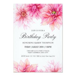 Cartão Festa de aniversário floral da aguarela