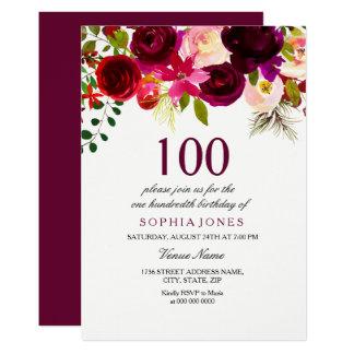 Cartão Festa de aniversário floral de Borgonha Boho a