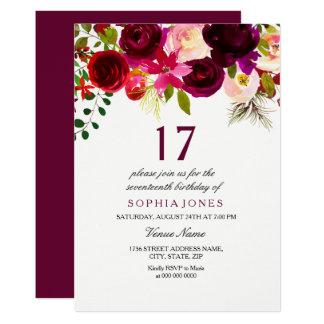 Cartão Festa de aniversário floral de Borgonha Boho a 17a