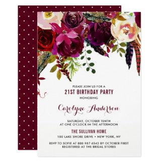 Cartão Festa de aniversário floral do outono de Boho da