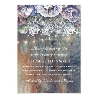 Cartão Festa de aniversário floral rústica azul e marrom