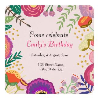 Cartão Festa de aniversário floral rústica da flor