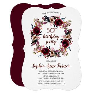 Cartão Festa de aniversário floral rústica do papel do