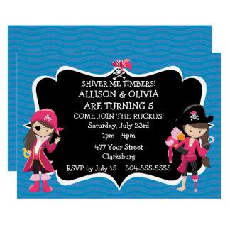 Cartão Festa de aniversário gêmea do pirata das meninas