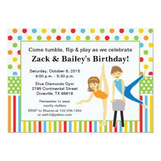 Cartão Festa de aniversário ginástica do menino e da
