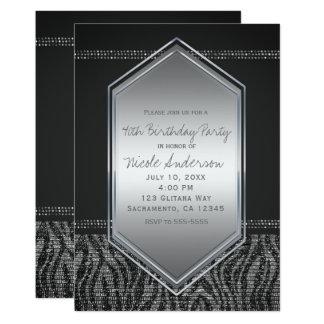 Cartão Festa de aniversário Glam do cinza de prata da