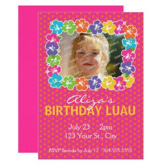 Cartão Festa de aniversário havaiana de Luau