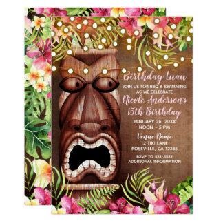 Cartão Festa de aniversário havaiana de madeira do verão