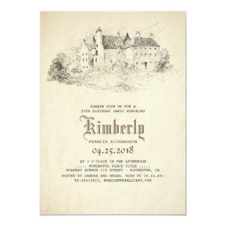 Cartão Festa de aniversário idosa do vintage do castelo