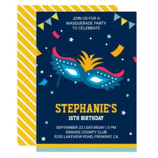Cartão Festa de aniversário moderna colorida do mascarada