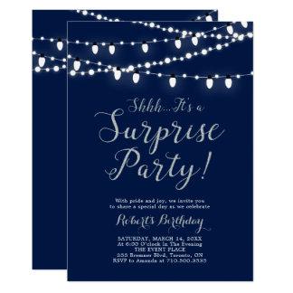 Cartão Festa de aniversário moderna da surpresa da prata