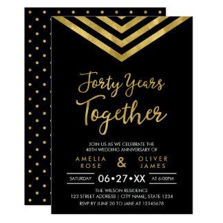 Cartão Festa de aniversário moderna de Chevron 40th do