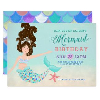 Cartão Festa de aniversário pálida da sereia da pele do