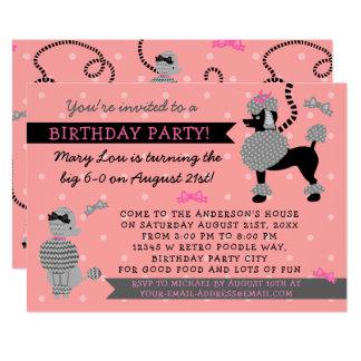Cartão Festa de aniversário preta cor-de-rosa retro do 50